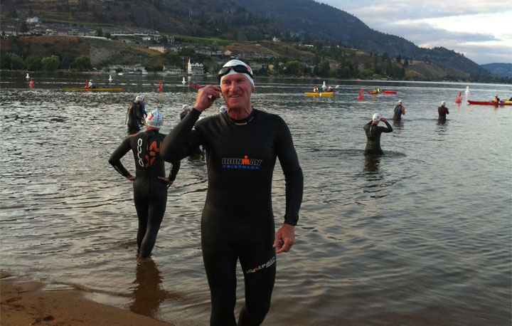 A photo of Paul getting ready for the swim portion of the race