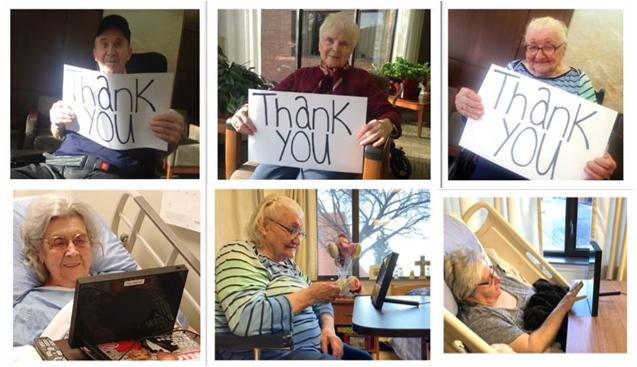 Un collage de photos des résidents du centre d'hébergement St-Michael's Long Term Care Home utilisant leurs tablettes. Certains tiennent des affiches disant « merci ».