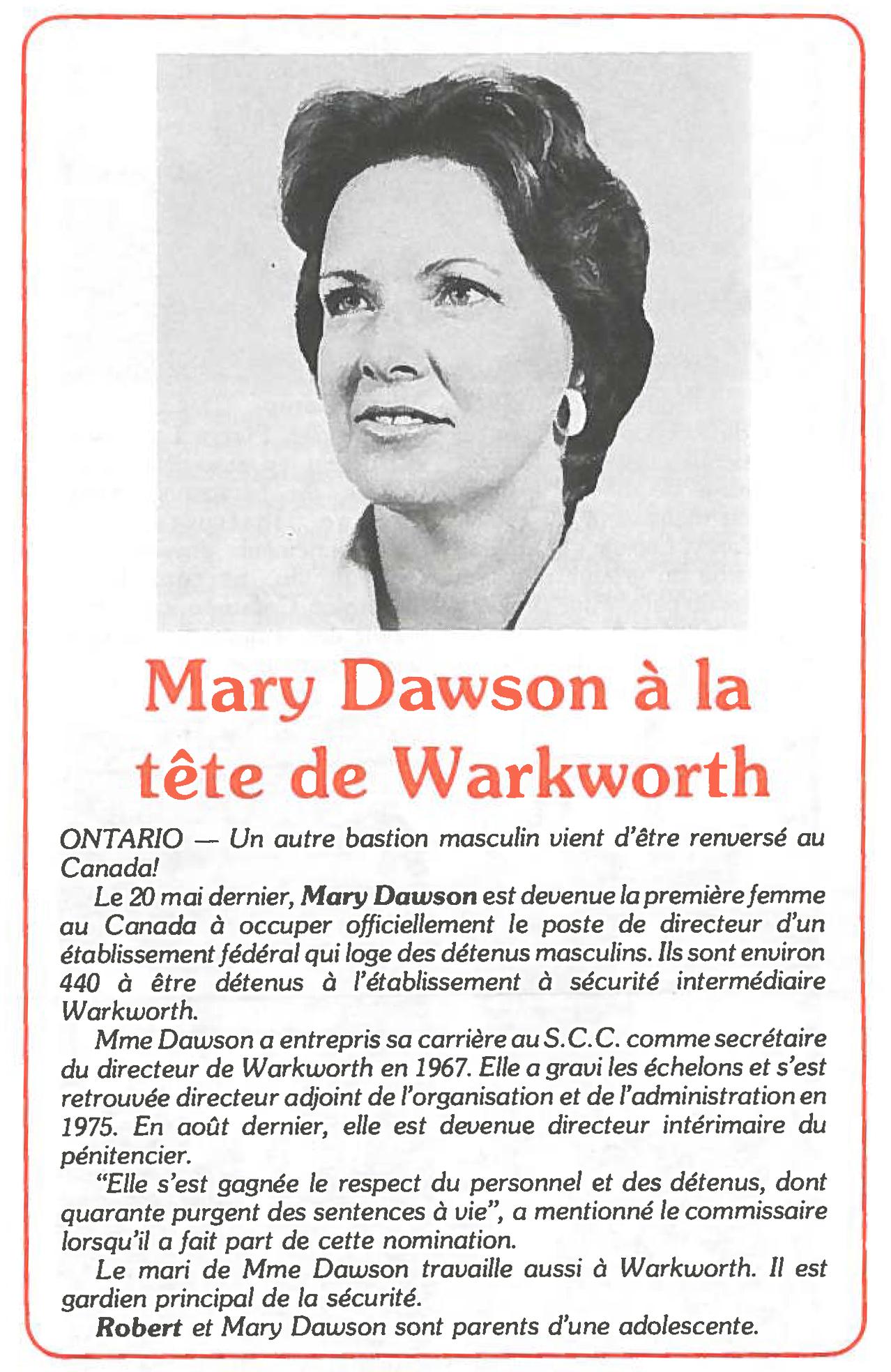 Photo de Mary Dawson, nommée directrice de l'Établissement de Warkworth en 1980. Elle a été la première femme à être nommée directrice d'un établissement pour hommes.