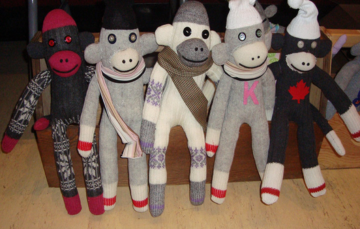 A photo of sock monkeys made by offenders