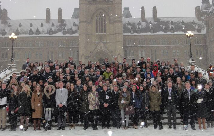 A photo of all students and group leaders outside Parliament Hill