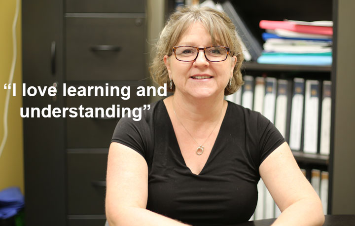 """A photo of Sylvie Soucy with the text """"I love learning and understanding"""""""