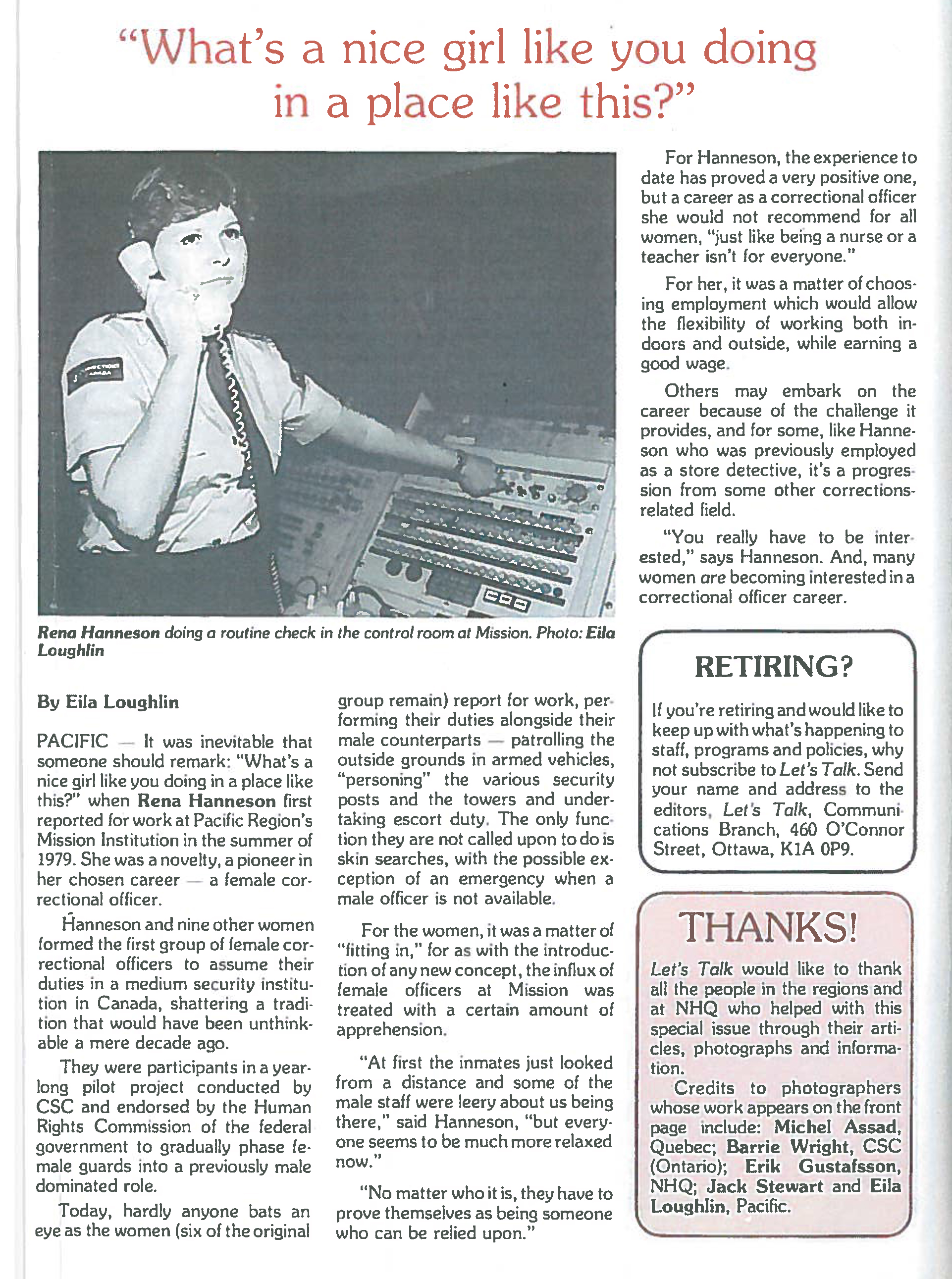 An article about women in corrections - March 1981
