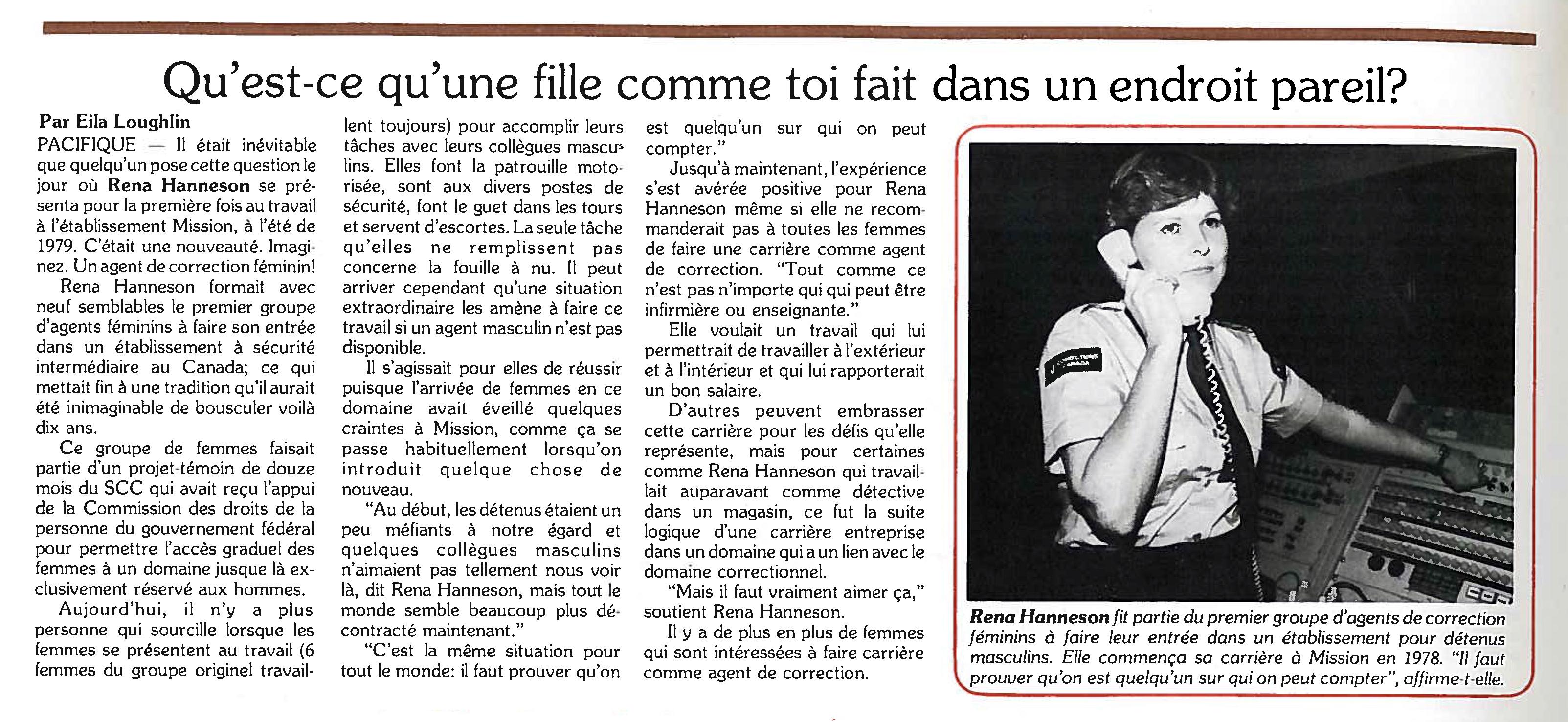 Un article sur les femmes dans le système correctionnel (Mars 1981)