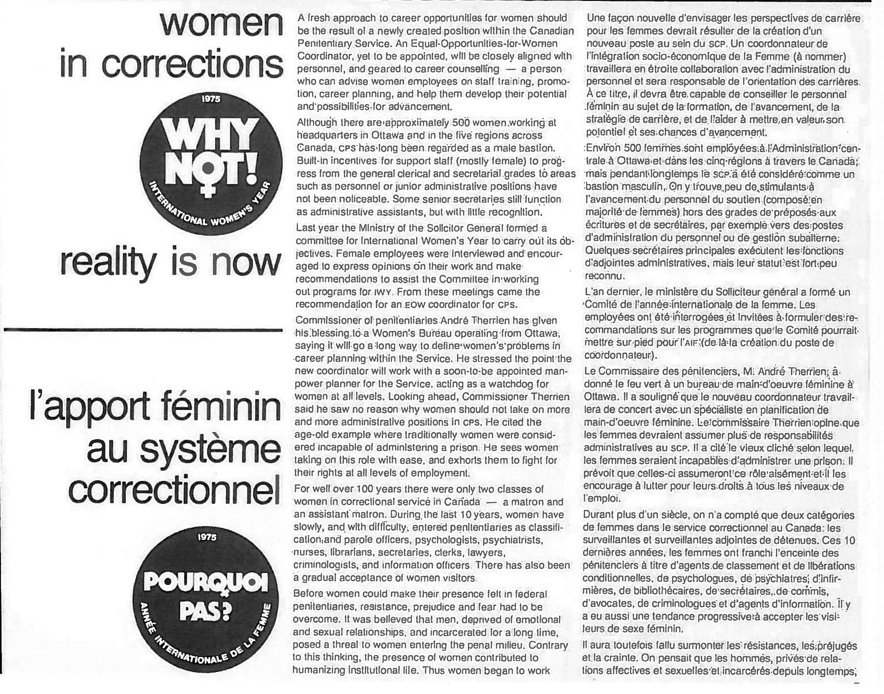 An article about women in corrections - 1975