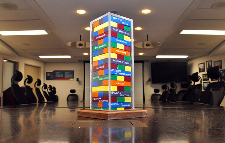 A photo of the modified Jenga game created by the Employees with Disabilities National Working Group.