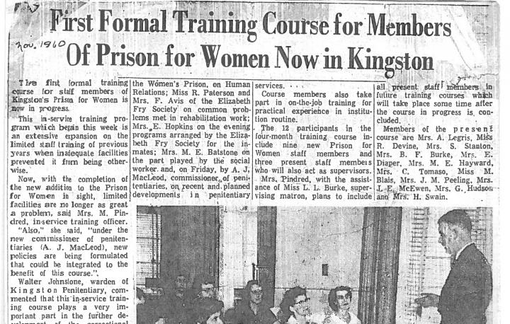 A newspaper article about the first formal training class for female Correctional Officers - November 1960