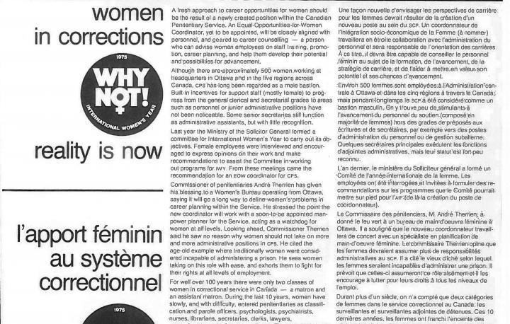 Un article sur les femmes dans le système correctionnel  - 1975