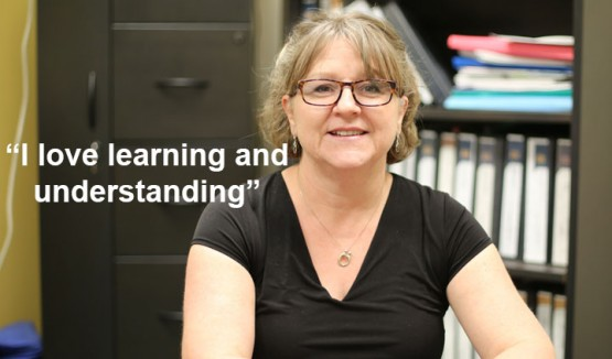 "A photo of Sylvie Soucy with the text ""I love learning and understanding"""