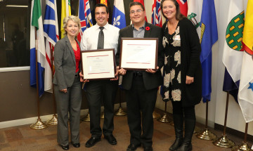 A photo of Kenny Goulet and Eric Michael with Senior Deputy Commissioner, Anne Kelly and Lisa Allgaier, Director General of Aboriginal Initiatives at their graduation ceremony.
