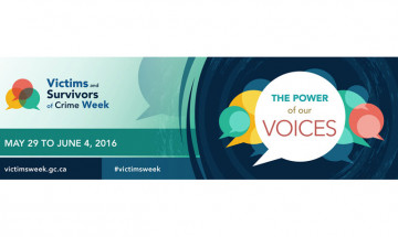 A photo of a banner promoting Victims and Survivors of Crime Week. It says the week takes place from May 29 to June 4, 2016 and provides the website to find more information (victimsweek.gc.ca)