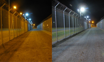 Combined image of road. Left-hand photo shows dull lighting. Right-hand image shows the same road with bright lights illuminating it.