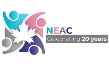 """National Ethnocultural Advisory Committee (NEAC) logo with text that reads """"celebrating 20 years"""""""
