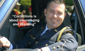 "A photo of Jason Warner with the text ""Corrections is about encouraging and assisting"""